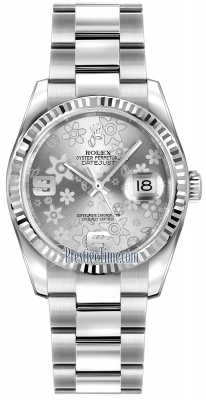 Rolex Datejust 36mm Stainless Steel 116234 Silver Floral Oyster