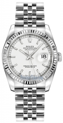 Rolex Datejust 36mm Stainless Steel 116234 White Index Jubilee