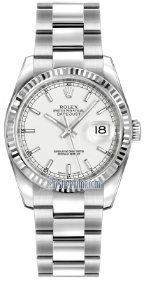 Rolex Datejust 36mm Stainless Steel 116234 White Index Oyster