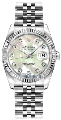 Rolex Datejust 36mm Stainless Steel 116234 White MOP Diamond Jubilee