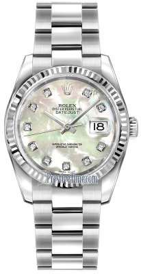 Rolex Datejust 36mm Stainless Steel 116234 White MOP Diamond Oyster