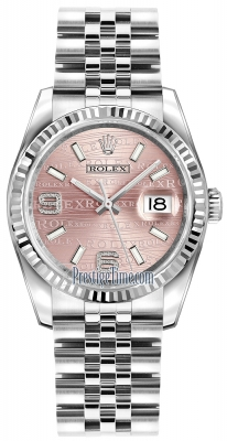 Rolex Datejust 36mm Stainless Steel 116234 Pink Wave Jubilee