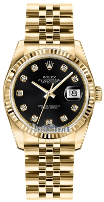 Rolex Datejust 36mm Yellow Gold 116238 Black Diamond Jubilee