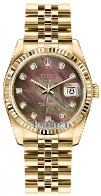 Rolex Datejust 36mm Yellow Gold 116238 Black MOP Diamond Jubilee