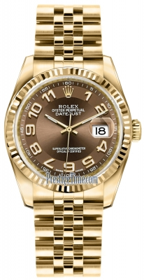 Rolex Datejust 36mm Yellow Gold 116238 Bronze Arabic Jubilee