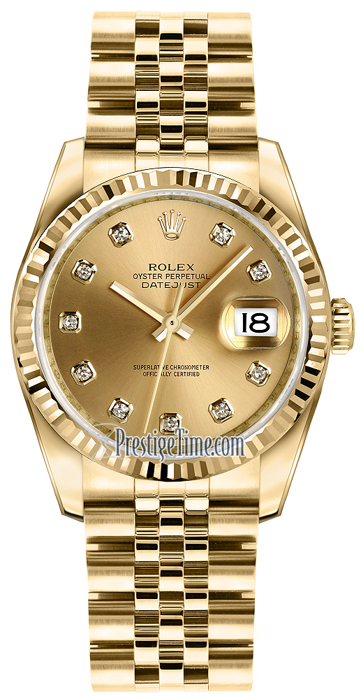 116238 Champagne Diamond Jubilee Rolex Datejust 36mm Yellow Gold