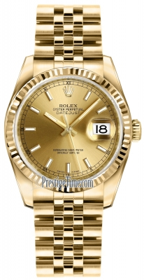 Rolex Datejust 36mm Yellow Gold 116238 Champagne Index Jubilee