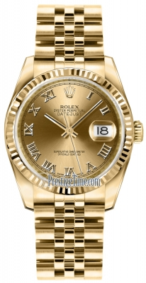 Rolex Datejust 36mm Yellow Gold 116238 Champagne Roman Jubilee