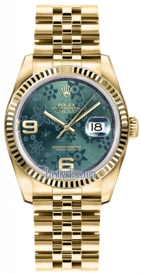 Rolex Datejust 36mm Yellow Gold 116238 Green Floral Jubilee