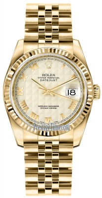 Rolex Datejust 36mm Yellow Gold 116238 Ivory Pyramid Roman Jubilee