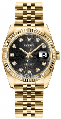 Rolex Datejust 36mm Yellow Gold 116238 Jubilee Black Diamond Jubilee