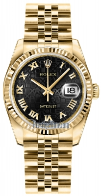 Rolex Datejust 36mm Yellow Gold 116238 Jubilee Black Roman Jubilee