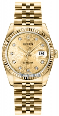 Rolex Datejust 36mm Yellow Gold 116238 Jubilee Champagne Diamond Jubilee