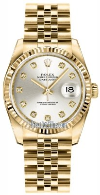 Rolex Datejust 36mm Yellow Gold 116238 Silver Diamond Jubilee