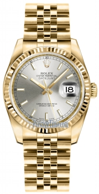 Rolex Datejust 36mm Yellow Gold 116238 Silver Index Jubilee