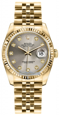 Rolex Datejust 36mm Yellow Gold 116238 Steel Diamond Jubilee