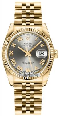 Rolex Datejust 36mm Yellow Gold 116238 Steel Roman Jubilee