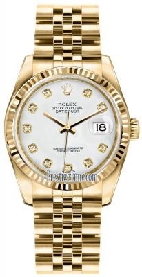 Rolex Datejust 36mm Yellow Gold 116238 White Diamond Jubilee