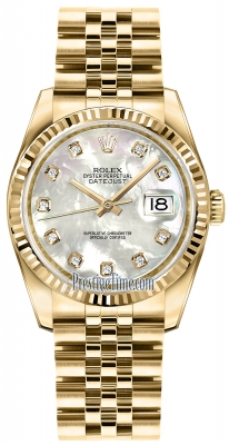 Rolex Datejust 36mm Yellow Gold 116238 White MOP Diamond Jubilee