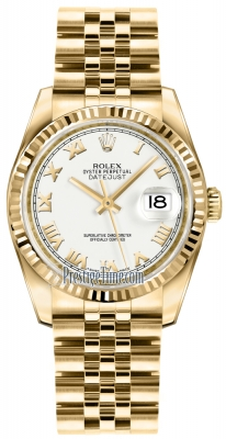 Rolex Datejust 36mm Yellow Gold 116238 White Roman Jubilee