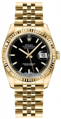 Rolex Datejust 36mm Yellow Gold 116238 Black Index Jubilee