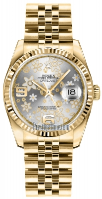 Rolex Datejust 36mm Yellow Gold 116238 Silver Floral Jubilee