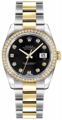 Rolex Datejust 36mm Stainless Steel and Yellow Gold 116243 Black Diamond Oyster