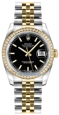 Rolex Datejust 36mm Stainless Steel and Yellow Gold 116243 Black Index Jubilee