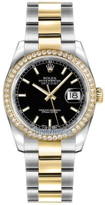 Rolex Datejust 36mm Stainless Steel and Yellow Gold 116243 Black Index Oyster