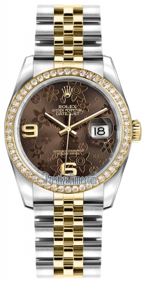 Rolex Datejust 36mm Stainless Steel and Yellow Gold 116243 Bronze Floral Jubilee