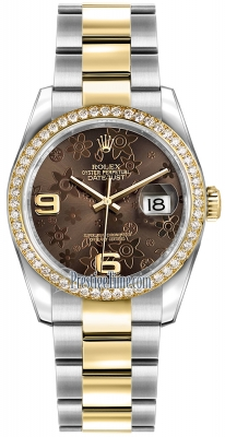 Rolex Datejust 36mm Stainless Steel and Yellow Gold 116243 Bronze Floral Oyster