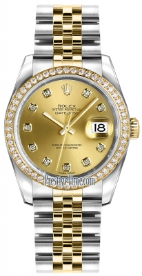 Rolex Datejust 36mm Stainless Steel and Yellow Gold 116243 Champagne Diamond Jubilee