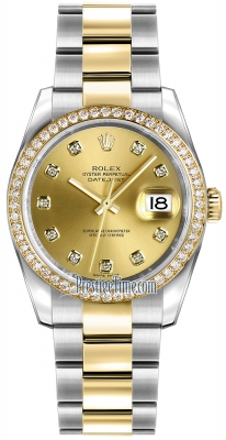 Rolex Datejust 36mm Stainless Steel and Yellow Gold 116243 Champagne Diamond Oyster