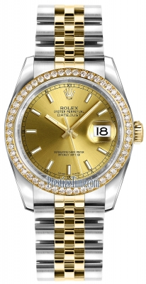Rolex Datejust 36mm Stainless Steel and Yellow Gold 116243 Champagne Index Jubilee