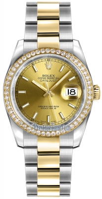 Rolex Datejust 36mm Stainless Steel and Yellow Gold 116243 Champagne Index Oyster