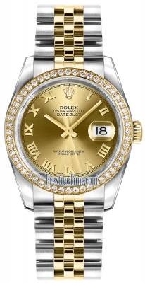 Rolex Datejust 36mm Stainless Steel and Yellow Gold 116243 Champagne Roman Jubilee