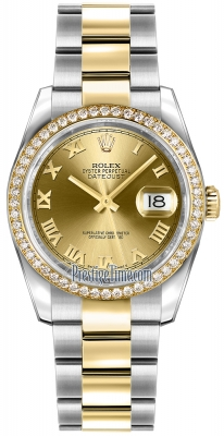Rolex Datejust 36mm Stainless Steel and Yellow Gold 116243 Champagne Roman Oyster