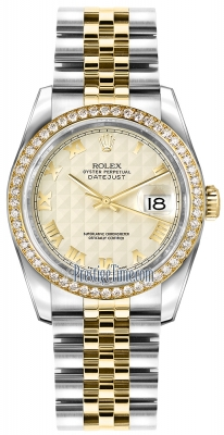 Rolex Datejust 36mm Stainless Steel and Yellow Gold 116243 Ivory Pyramid Roman Jubilee