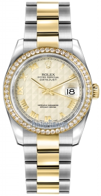 Rolex Datejust 36mm Stainless Steel and Yellow Gold 116243 Ivory Pyramid Roman Oyster