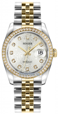Rolex Datejust 36mm Stainless Steel and Yellow Gold 116243 Jubilee Silver Diamond Jubilee