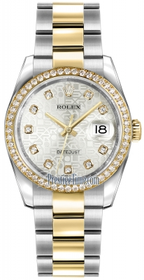 Rolex Datejust 36mm Stainless Steel and Yellow Gold 116243 Jubilee Silver Diamond Oyster