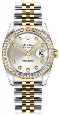 Rolex Datejust 36mm Stainless Steel and Yellow Gold 116243 Silver Diamond Jubilee