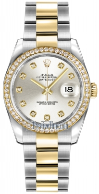 Rolex Datejust 36mm Stainless Steel and Yellow Gold 116243 Silver Diamond Oyster