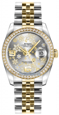Rolex Datejust 36mm Stainless Steel and Yellow Gold 116243 Silver Floral Jubilee