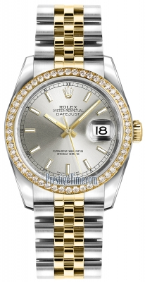 Rolex Datejust 36mm Stainless Steel and Yellow Gold 116243 Silver Index Jubilee