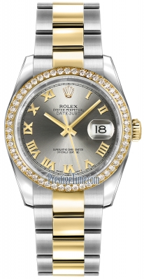 Rolex Datejust 36mm Stainless Steel and Yellow Gold 116243 Steel Roman Oyster