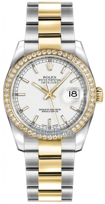 Rolex Datejust 36mm Stainless Steel and Yellow Gold 116243 White Index Oyster