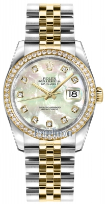 Rolex Datejust 36mm Stainless Steel and Yellow Gold 116243 White MOP Diamond Jubilee