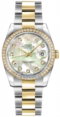 Rolex Datejust 36mm Stainless Steel and Yellow Gold 116243 White MOP Diamond Oyster