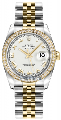 Rolex Datejust 36mm Stainless Steel and Yellow Gold 116243 White Roman Jubilee